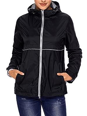 SWISSWELL Rain Jacket Women Waterproof Lightweight Hooded Raincoat Lined Rainwear