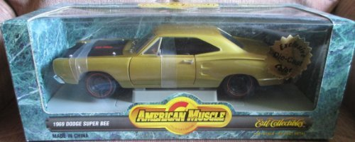 #7151 Ertl American Muscle 1969 Dodge Super Bee,Gold 1/18 Scale Diecast ()
