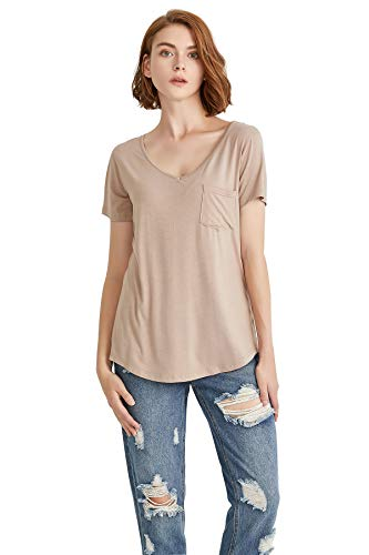 (LUFENG Women's Casual V Neck T-Shirt Short Sleeve High Low Tunic Loose Blouse Tops with Pocket Light Tan )