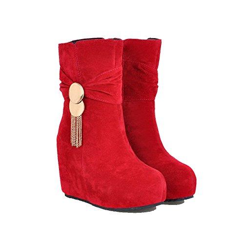 VogueZone009 Damen Rund Zehe Rein Niedrig-Spitze Hoher Absatz Stiefel mit Anhänger Rot