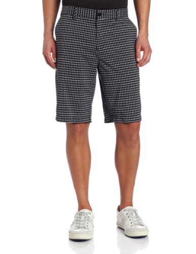 adidas Golf Men's Climalite Neutral Plaid Shorts, Black/Chrome, 32-Inch - Mens Plaid Golf Shorts