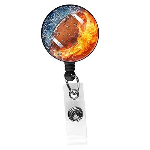 Retractable Badge Holders Reel Clip On ID Card Holders,Name Card Badge Holder for Boys,Football Enthusiast,Rugby Player,Men