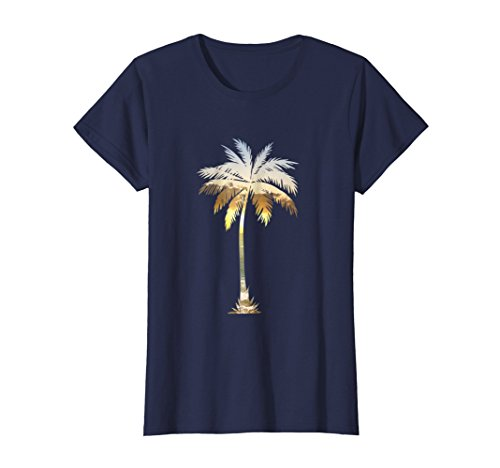 Tree Graphic - Womens Palm Tree Shirt | Cool Graphic Tees Palm Tree Beach T-shirt Medium Navy