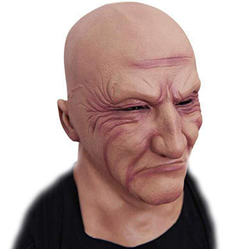 Halloween Funny Latex Head Mask Realistic Strong Man Mask Creepy Old Male Disguise Bruiser Novelty Human Face White ()