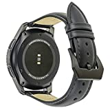 Galaxy Watch 46mm Band, Gear S3 Bands, for Samsung Gear S3 Frontier Classic 22mm Leather Watch Band, Screen Protector 1pcs, for Samsung Galaxy Watch 46mm Band Men Women Smart Watch Strap (Black)