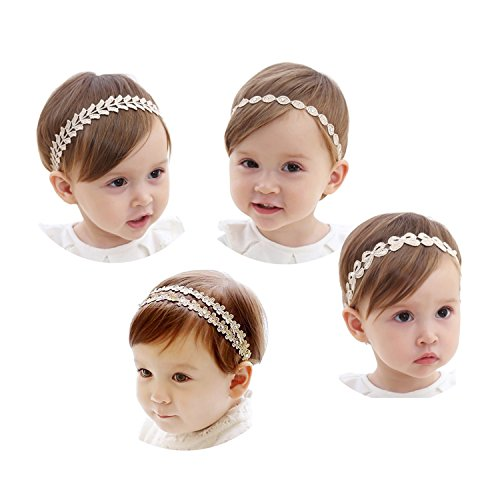 Gold Lace Bow - COUXILY Baby's Gold Lace Headband with Elastic band for Party Photograph (4,C01)