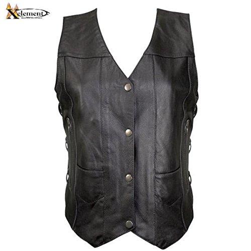 Xelement B26675 Womens Black 10 Pocket Cowhide Leather Motorcycle Vest - 3X-Large (Leather Motorcycle Vest 3x)