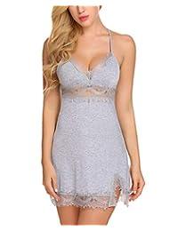 Avidlove Women Lace Lingerie Nightgown V Neck Sleepwear Halter Chemise