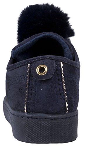 Lora Dora Femmes Pom Pom Chaussures De Skate Plat Escarpins Talon Haut À Lacets Décontracté Baskets Taille UK 3-8 Bleu Marine ab7lnEGju
