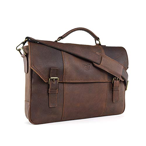 """AG Leather Genuine Leather Briefcase Messenger Bag Attache Case 17"""" Laptop Old west (Brown)"""