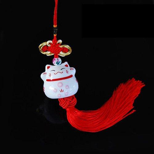uzoho Lucky Cute Chinese Ceramic Maneki Neko Car Hanging Pendant Plutus Cat Car Interior Decoration Car Accessories (Style A, Red)