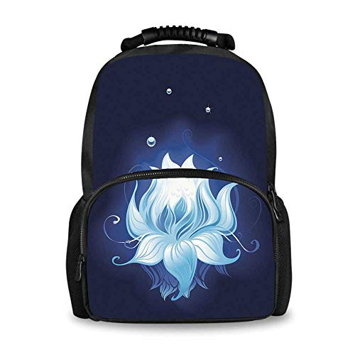 Floral Adorable School Bag,Zen Lotus with Dew Drops Reflected in Dark Water Background Yoga Spirit Image for Boys,12