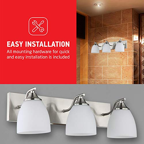 OSTWIN 3-Light Bath Bar Light Up or Down, Interior Bathroom Vanity Wall Lighting Fixture VF42, 3x60 Watt E26 Socket, Satin Nickel Finish with Opal Oval Cone Glass Shade, UL Listed by OSTWIN (Image #6)