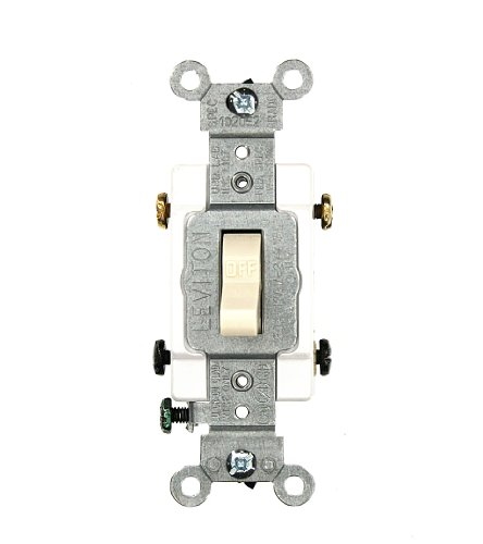 Leviton CSB2-20T 20 Amp, 120/277 Volt, Toggle Double-Pole AC Quiet Switch, Commercial Grade, Grounding, Light Almond