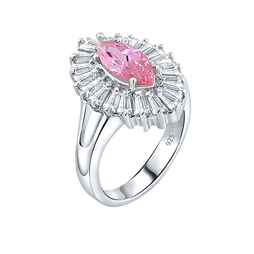 Sterling Silver Polish High Tapered (Women's Sterling Silver .925 Ring with Pink Marquise Center Surrounded by 21 Tapered Baguette Cubic Zirconia (CZ) stones, High Polish Jewelry)