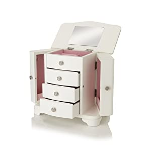 Nathan Direct Snow 4 Drawer Jewelry Box with 2 Side Compartments and a Lift-Top Compartment with Mirror and Ring Holders, White