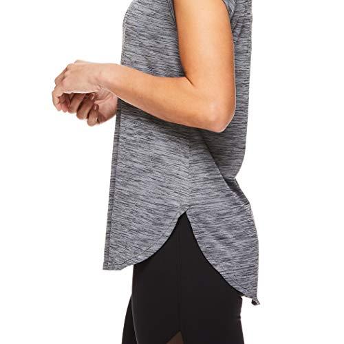 Reebok Women's Legend Performance Short Sleeve T-Shirt with Polyspan Fabric - Black Black Heather, X-Small by Reebok (Image #3)