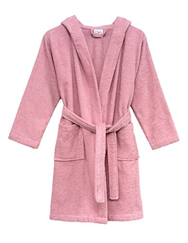 TowelSelections Big Girls' Robe, Kids Hooded Cotton Terry Bathrobe Cover-up Size 12 Coral Blush -