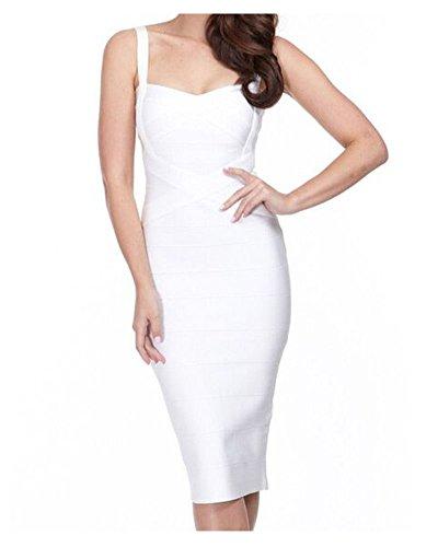 Evening Strap Party White Celebrity Bandage ployester Dress Midi Women's Rayon Whoinshop Xq6Ew