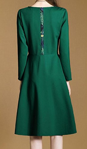 Dress Neck Decorated Green Clubwear Scoop Women Coolred Splicing Cocktail Floral 78qOFAw