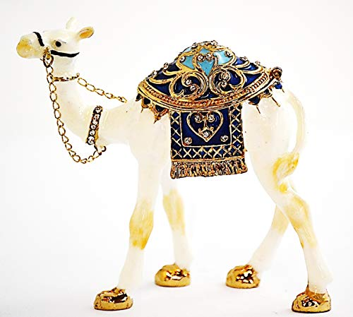 Ciel Collectables Standing White Camel Trinket Box. Hand Made with Swarovski Crystal & Enamel