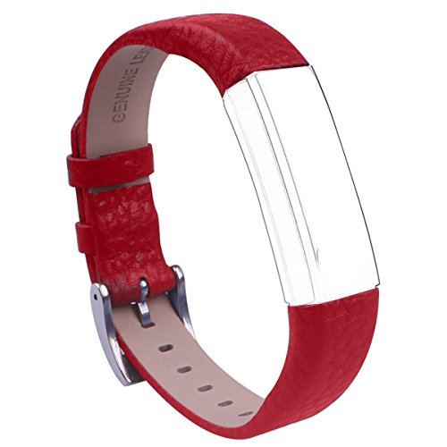 Fitbit Alta Leather Bands Metal Buckle Genuine Leather Replacement Wrist Bands For Fitbit Alta Prevent the Tracker Fall Off (Wine Red, Adjustable(5.7