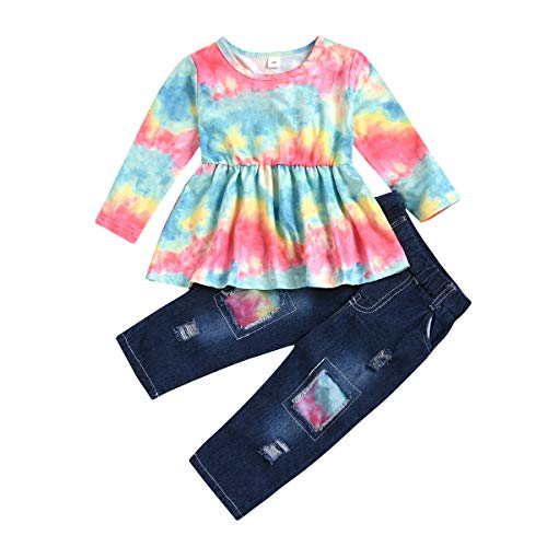 BroStrongwn Toddler Baby Girl Clothes Fly Sleeve Fruit Print Tops+Jeans Denim Short Set Outfit 2Pcs
