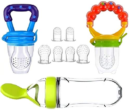 Baby Food Feeder, Pacifier Fruit- Fresh silicone Bottle Squeeze Spoon Frozen fruit Teething Pacifiers Nibbler Hygienic Cover Newborn Teeth with Meshes Sizes Solid Nipple for Baby Food Dispensing Spoon from Gedebey