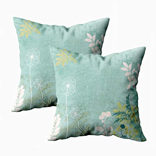 18x18 Pillow Cover,2 Packs Throw Pillow Covers,Douecilsh Cushion Soft Home Sofa Decorative Faded Vintage Floral Background Grass Leaves Double Printed -