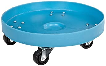 """Dixie Poly D-21-35 Plastic Drum Dolly for 35 gallon Drum, 600 lbs Capacity, 21.5"""" Diameter x 6.5"""" Height, Blue"""
