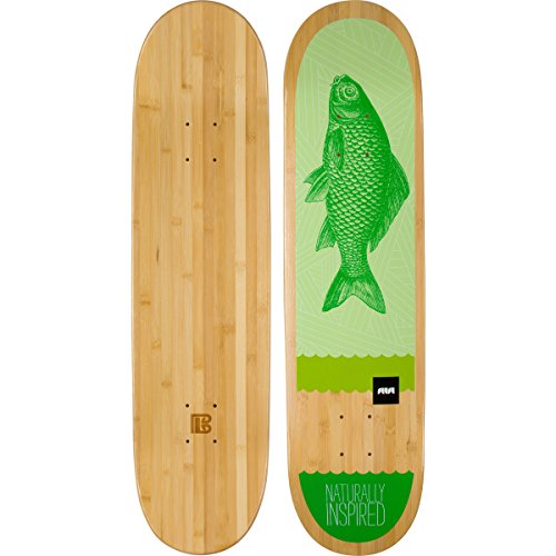 "Bamboo Skateboards Green Fish Graphic Skateboard Deck, 8.25"" x 32"""