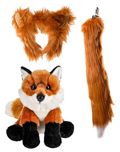 Wildlife Tree Stuffed Plush Red Fox Ears Headband and Tail Set with Baby Plush Toy Red Fox Bundle for Pretend Play Animals Dress -