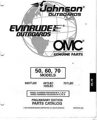 1998 OMC JOHNSON EVINRUDE 50, 60, & 70 HP PARTS MANUAL (70 Hp Parts Manual)