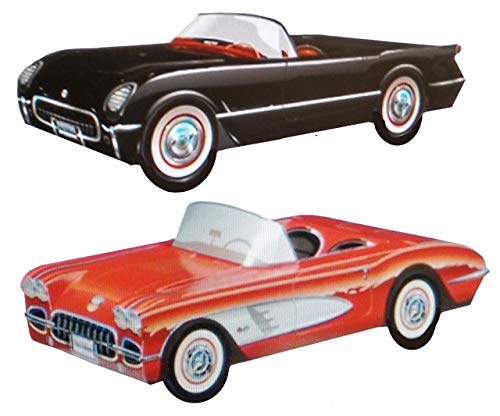 Dunwoody Specialty Sales - Classic Car Sets 12 Classic Car Party Food Boxes - Corvette Collection]()