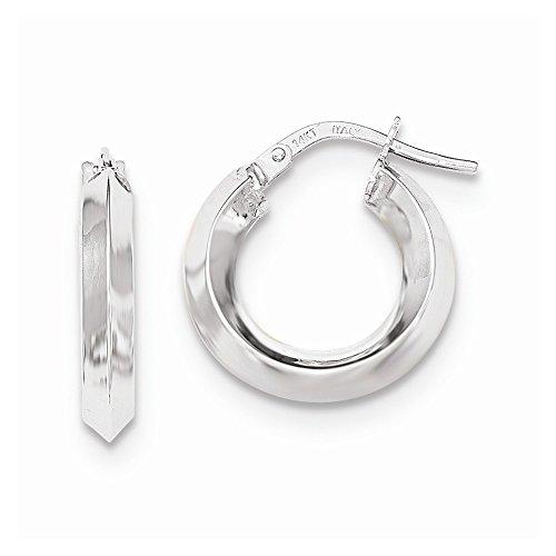 14K White Gold Beveled Tube Hoop Earrings 17mm
