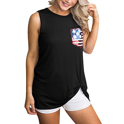 Hypothesis_X ☎ Women's Short Sleeve Scoop Neck T Shirt Casual Tops Stars Striped Print Vest Tops for 4th of July Black