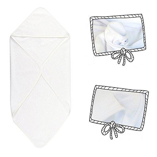 Toalla de baño blanca lisa con capucha para bebé, de algodón, color blanco, niño y niña, 77x66 cms: Amazon.es: Bebé