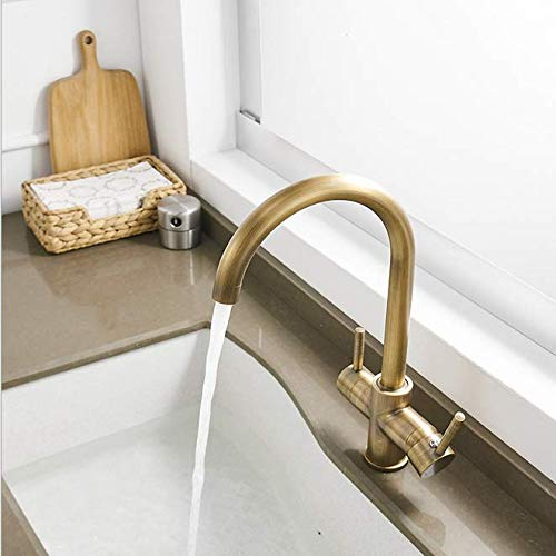 Golden Kitchen Faucet with Antique Russell Cold and Hot Single Copper Faucet for Vegetable Washing Pot with Rotating Universal Washing Tank
