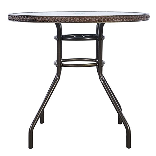 Discount Quality Patio Round Rattan Dining Table Tempered Glass Outdoor Furniture Garden Pool