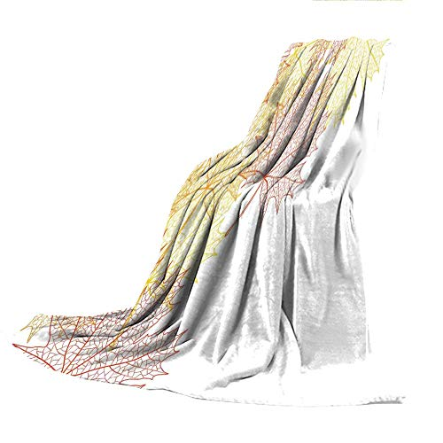 Blanket for Bed Couch Chair Fall Winter Spring Living Room,Leaves,Pattern with Maple Tree Fall Leaves Skeleton Dried Golden Forms Halloween Decoration Decorative,Red Yellow,59.06