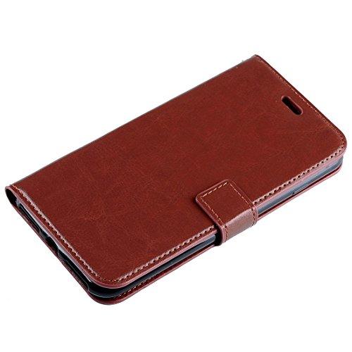 Protege tu iPhone, Para el iPhone 6 & 6sCrazy textura horizontal del caballo Flip caja de cuero con hebilla magnética & Holder & CardSlots & Wallet & PhotoFrame Para el teléfono celular de Iphone. ( C Marrón