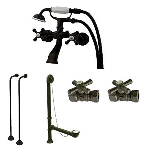 Kingston Brass CCK265ORB Vintage Wall Mount Claw Foot Faucet Package, Oil Rubbed Bronze