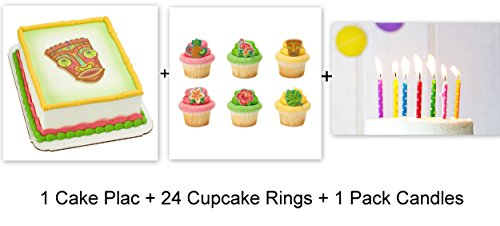 Party Cupcake Pics - Luau Beach Hawaii Polynesian Cake Cupcake Topper Pics Rings Party 24 Pieces Plus Candles