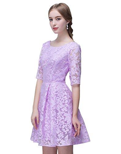 A Juwel Kleid Brautjungfer Ärmeln Lavendel mit kurze Spitze line Erosebridal gZqpdx4nww