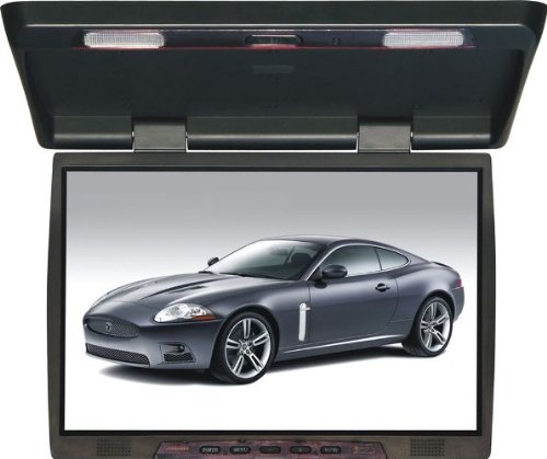 Tview T206ir 20 Inch Thin Tft Flip Down Ceiling-Mount Car/Truck Monitor with Twin Dome Lights by T-View
