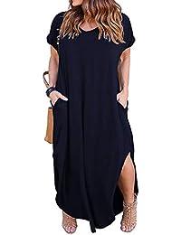 5dcbd1fa8b6 Women s Casual Loose Pocket Long Dress Short Sleeve Plus Size Slit Maxi  Dress