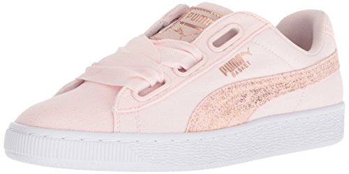- PUMA Women's Basket Heart Canvas Wn Sneaker, Pearl White-Rose Gold, 11 M US