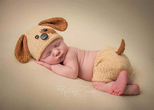 Memorz Newborn Infant Girl Boy Crochet Knit Costume Dog Photo Outfits Clothes Cap Prop (Yellow Dog hat + Shorts + -