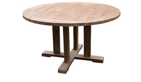 Wohnpalast - Mesa de jardín redonda (madera de teca, 160 x 160 x 78 cm): Amazon.es: Hogar