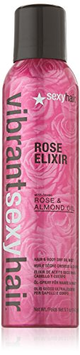 Sexy Hair Vibrant Rose Elixir Hair and Body Dry Oil Mist, 5.1 Ounce